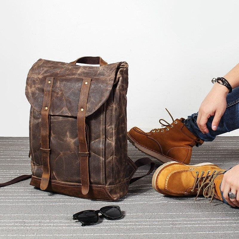 Bagaj ve Çantalar'ten Sırt Çantaları'de Erkekler Vintage yağ deri Mumlu tuval omuzdan askili çanta trend eğlence çantası edebi bilgisayar su geçirmez kadın çantası seyahat sırt çantası gelgit'da  Grup 2