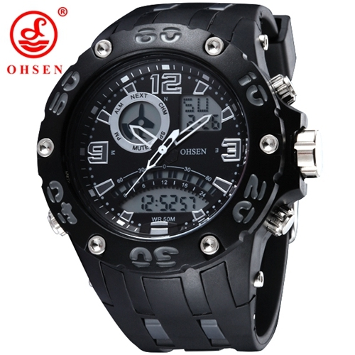 OHSEN Brand Watches 5ATM Water Proof Digital Outdoor Sports Watch Men's Watch EL Backligh Wristwatches Rubber strap