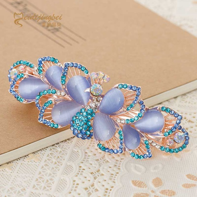 Rhinestone opal butterfly girls hairpins rose gold color zinc alloy
