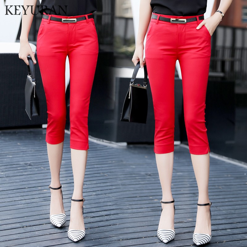 2018 OL Summer Fashion Women Cotton Casual formal   pants   Female Skinny Slim Pencil   Pants   Elastic Trousers   Capris   Plus Size S-XXL