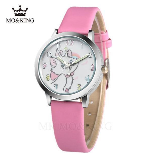 Cute Cat Cartoon Quartz Watch child leather Watches Cat Pattern Watch Women Wris