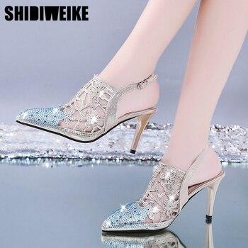 Alta calidad t-strap strass Mujer Zapatos charol strass Slingback tacones altos Sexy mujer fiesta zapatos x013