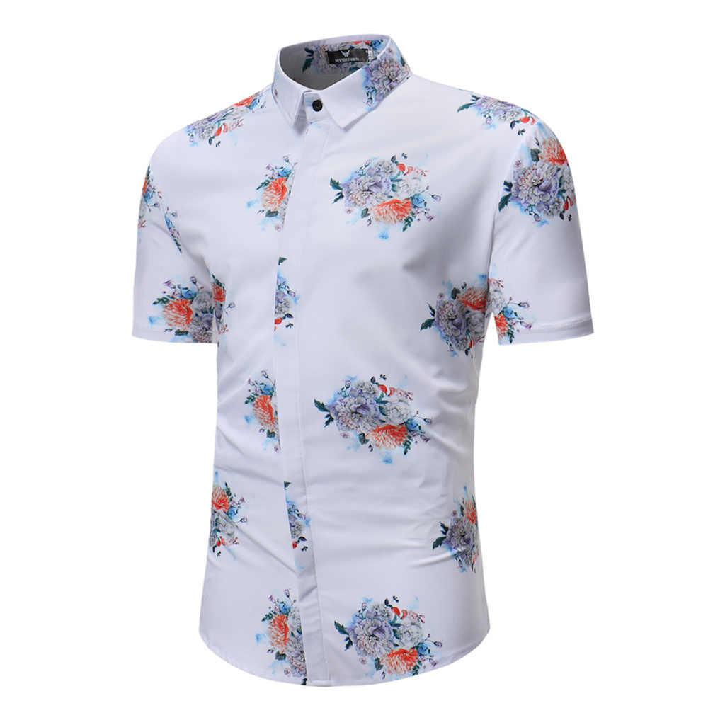 Мужская рубашка 2019 Лето Цветочный короткий рукав Turn-Down Воротник пляж Гавайский Разноцветные перья Печатный путешествия Slim Fit рубашки