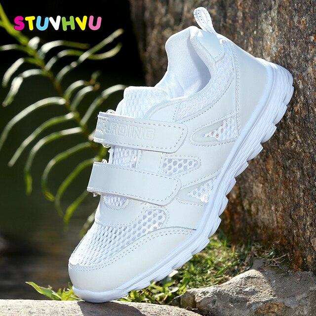 Năm 2019 Nữ Mới Giày Thể Thao Chạy Bộ Giày Sneaker Dành Cho Trẻ Em Của Lưới Mềm Mại Thoải Mái Bé Trai Thoáng Khí Giày Học Sinh Giày Trắng