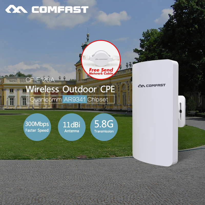 2pcs Hot ~ Comfast Nanostation wifi 300Mbps outdoor Access Point 5.8Ghz 11dBi WI-FI Antenna wireless bridge CF-E120A WIFI CPE 2 4g 3dbi wi fi antenna black