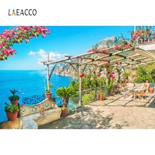 Laeacco Summer Sea Flowers Cool Place Holiday Family Photography Background Customized Photographic Backdrops For Photo Studio allenjoy photographic background european royal family living room backdrops princess boy studio fabric 7x5ft
