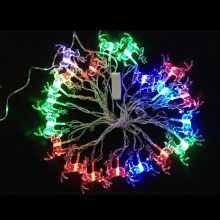 AC110V/220V Input Colorful Christmas Tree Decoration 3W Modeling String Light 20pcs Christmas Deer Bulbs, 4 Meters a Set