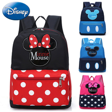 Disney 2019 New Girls Boys Backpack Minnie Kids Cartoon Children School Bags Cute Mickey Kindergarten Nursery Polyester Book Bag