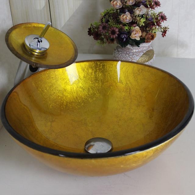 goldene farbe gedruckt waschen sch ssel und wasserhahn set handwaschbecken hand waschbecken. Black Bedroom Furniture Sets. Home Design Ideas