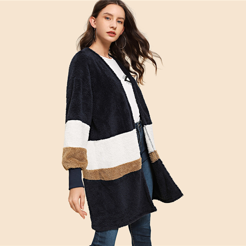 SHEIN Streetwear Multicolor Open Front Color Block Teddy Long Sleeve Coat Winter Modern Lady Elegant Women Coat Outerwear 9