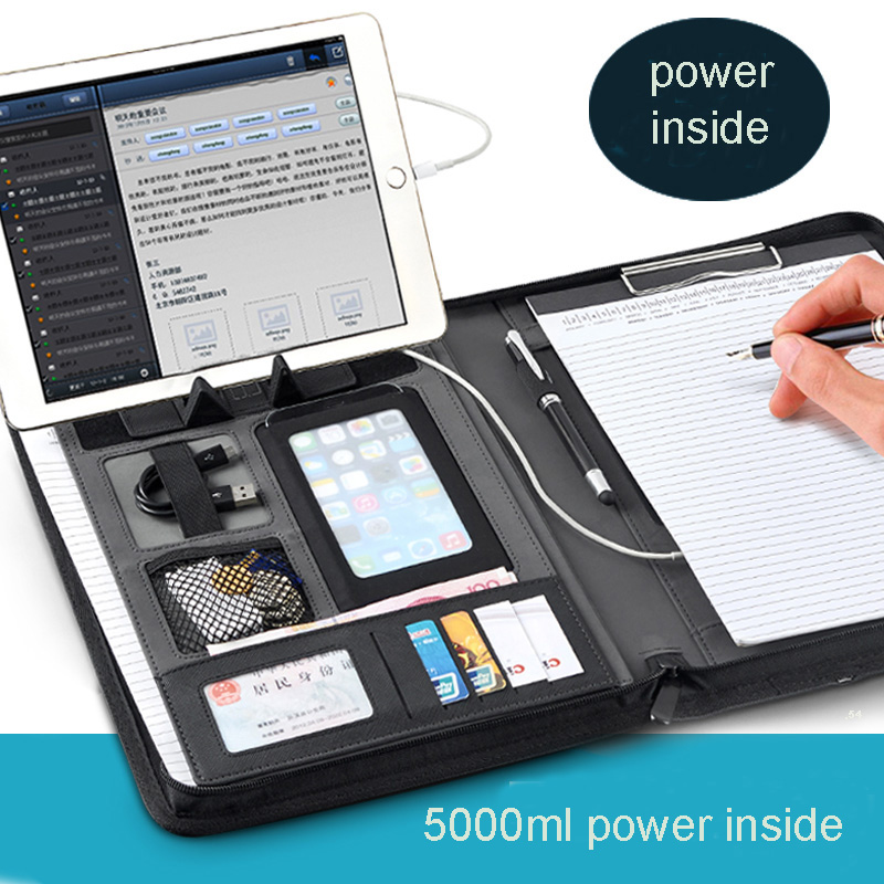 A4 Zipper Leather File Folder Briefcase Document Bag Folders Portfolio Folder With Ipad Cellphone Stand Rigid Belt Tape 1105C