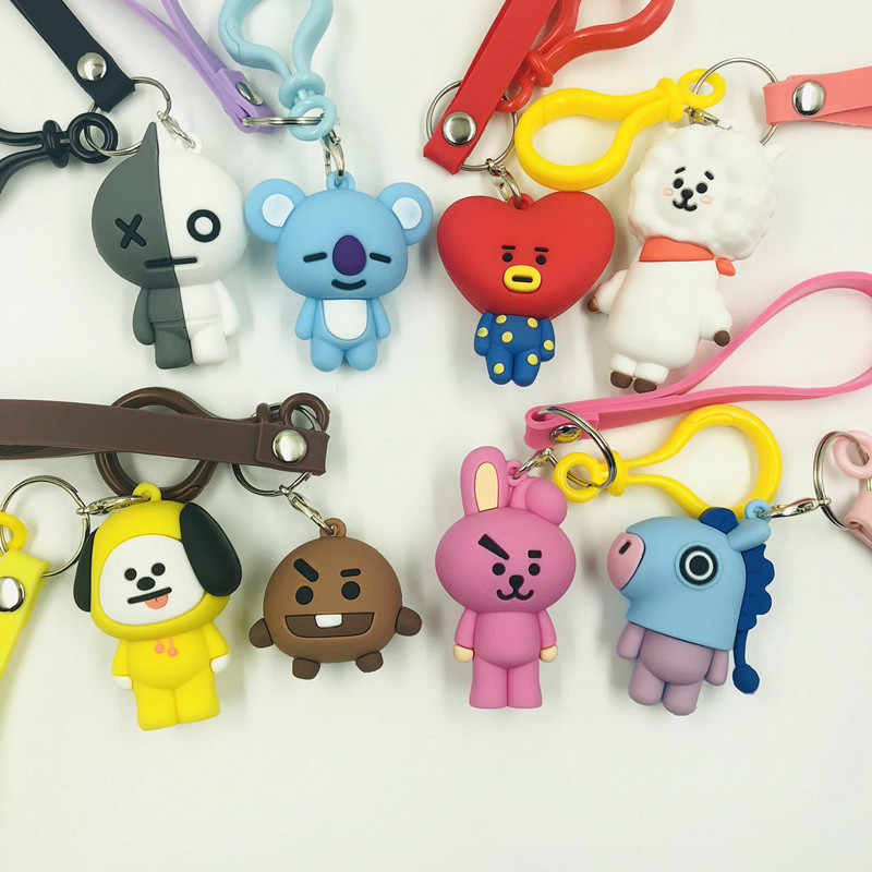 8 pçs/lote 3D kawaii keychain tata tata bt21 bts koya cooky chimmy peluche saco ventilador figura pingente chaveiro chave chainfor