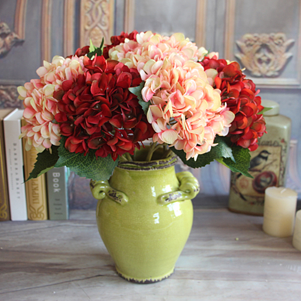 Wine Red Vintage Artificial Silk Peony Flower Arrangement Bouquet ...