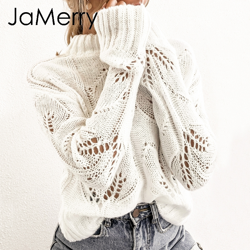 JaMerry Vintage Turtleneck Crohect Hollow Out Women Pullover Sweater Autumn Winter Casual Female Jumper Streetwear Top Overalls