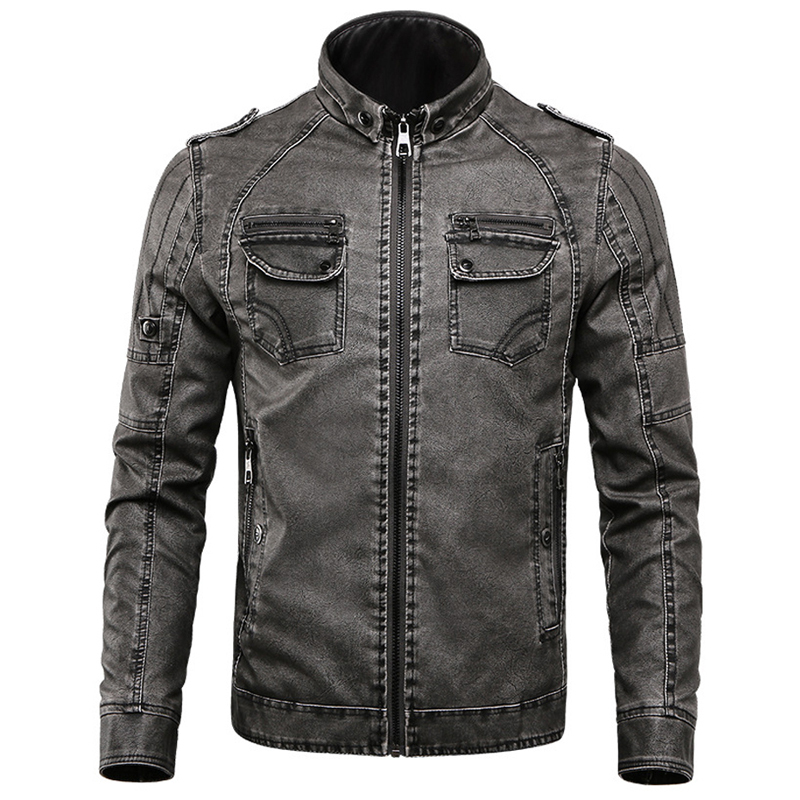 New Leather Jacket Men Casual Fleece Thicken Faux Leather Coats College Moto Biker Bomber Jackets jaqueta de couro masculino