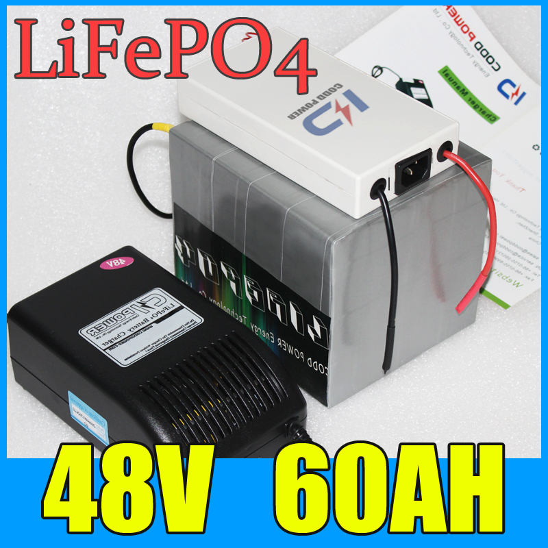 48V 60AH LiFePO4 Battery Pack ,3000W Electric bicycle Scooter lithium battery + BMS + Charger , Free Shipping factory direct price 60v 60ah diy rechargeable lithium ion battery powered 3000w electric chopper bike