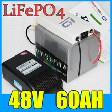 48V 60AH LiFePO4 Battery Pack ,3000W Electric bicycle Scooter lithium battery + BMS + Charger , Free Shipping 4pcs lot no taxes lifepo4 lithium battery pack 12v 100ah for ebike scooter bicycle tricycle rickshaw motorcycle