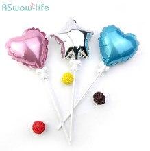 10pcs Birthday Cake Decoration 5 inch Mini Star Love Aluminum Balloon with Pole