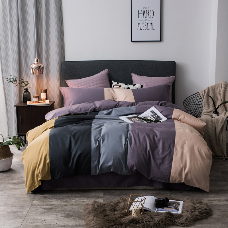 100 Cotton coffee grey purple green pink Bedding Set twin queen king size kids adults Duvet