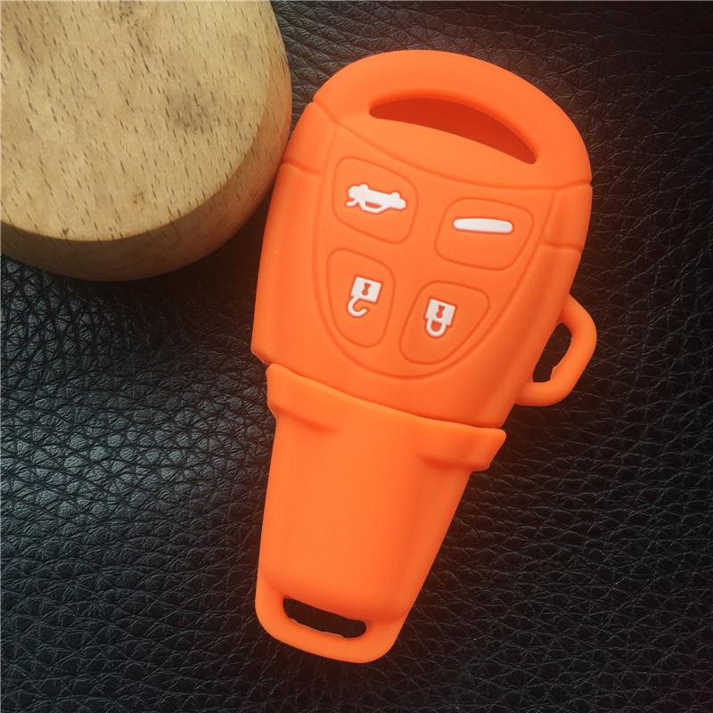 новый 4 пуговицы силиконовой резины ключи случае в виде ракушки крышка для Сааб 9-3 9-5 93 95 пустой удаленный ключи в виде ракушки брелок чехол