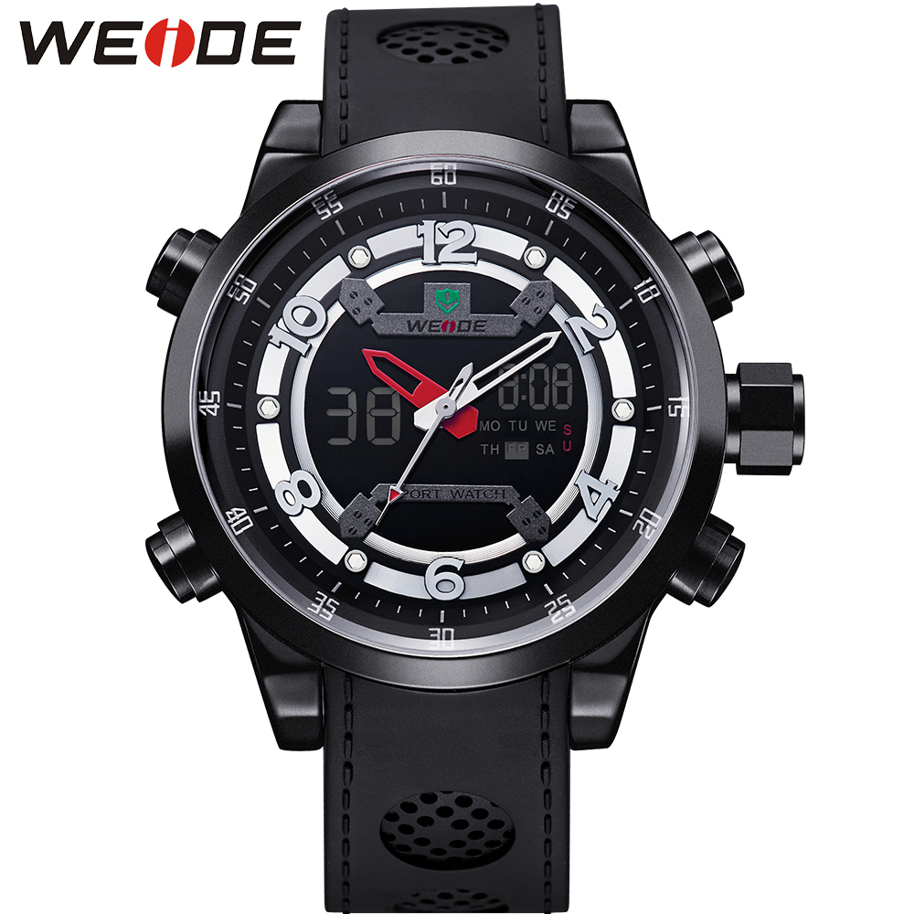 WEIDE Mens Sports Date Day Stopwatch Back Light Digital Analog LCD PU Band Quartz Military Army Buckle Men Watch Wristwatches weide men running sports quartz watch black strap dual date day back light analog digital alarm clock military watches