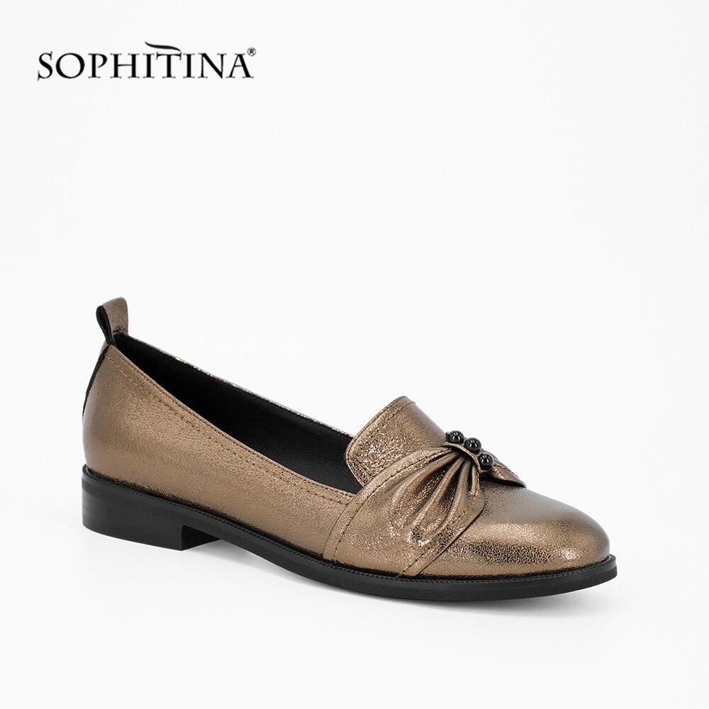 SOPHITINA Golden Sheepskin Lady Flats 2019 New Fashion Handmade Round Toe Casual Shoes Slip on Flower