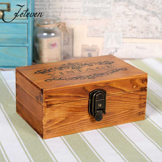 Retro Antique Vintage Wood Key Locker Jewelry Wooden Storage Box Organizer With 2 Keys Decorative Gift