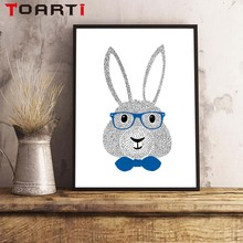 Nordic Cartoon Animals Cute Mouse Cool Rabbit Minimalist A4 Canvas Poster Art Painting Wall Picture Children Room Decoration
