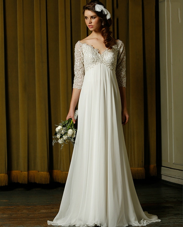 Custom Size Empire Waist Chiffon Wedding Dresses V Neck