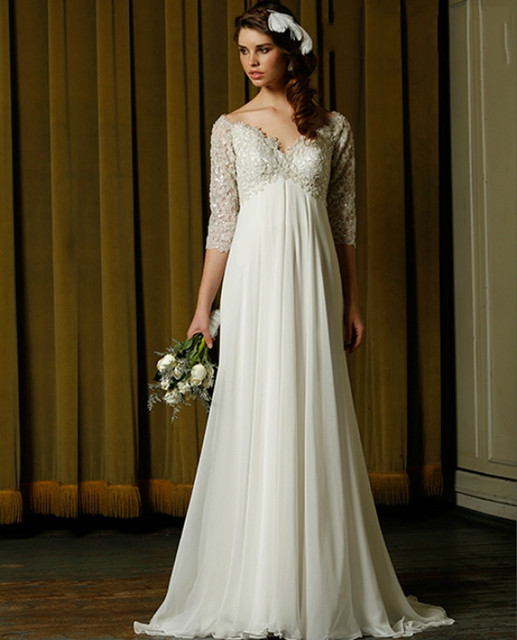 Custom Size Empire Waist Chiffon Wedding Dresses V Neck with Sleeves Summer  Beach Bridal Gowns for Maternity ccb93f7162bd