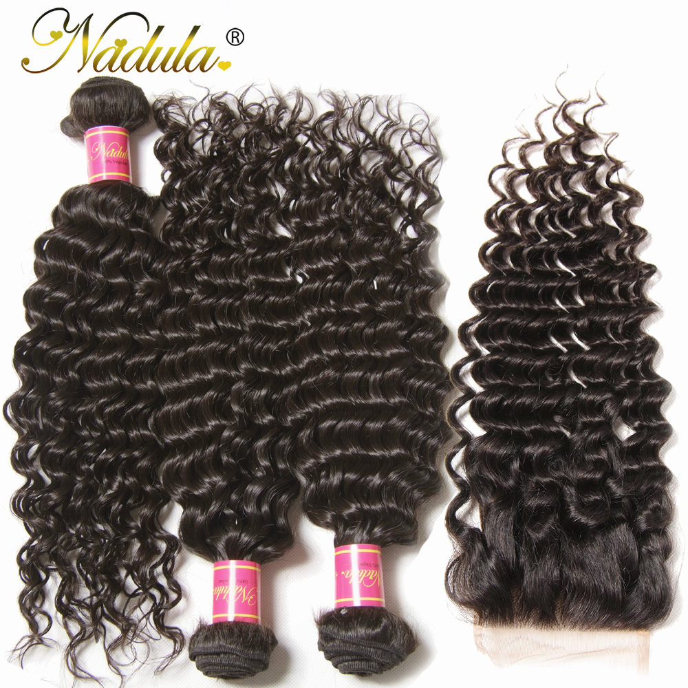 Nadula Hair  Deep Wave Bundles With Closure 4*4 Free Part Closure With   s 3 Bundles With Closure 3