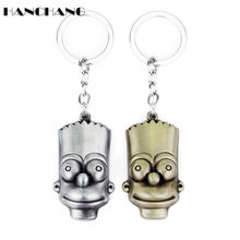 Popular Comic Anime Jewelry Key Chain Keyring Metal Gold/Sliver Plated Cartoon Figure Bart Simpson Pendant trinket Keychain(China)
