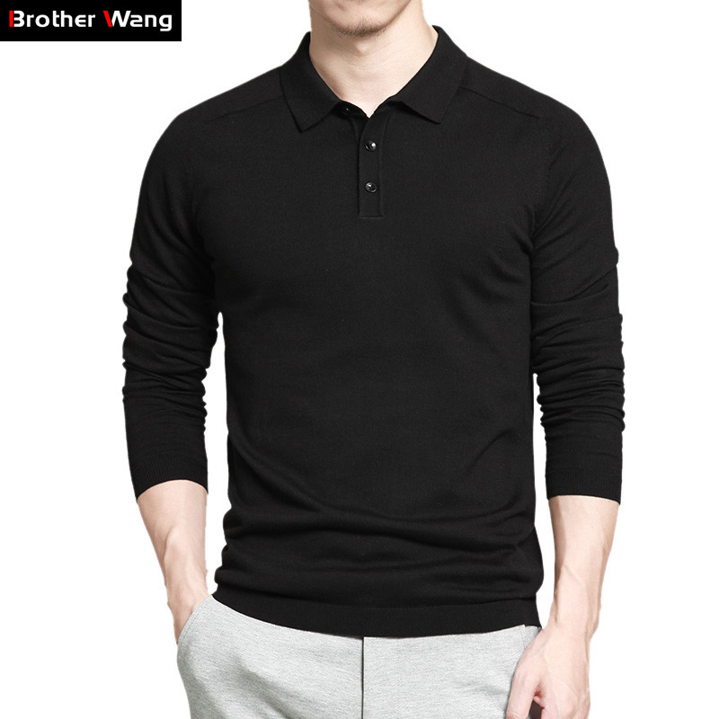 Brother Wang Brand 2019 Spring New Men's Business POLO Shirt Fashion Casual Knit Long Sleeve Slim Polo Blouse Tops Male