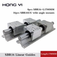 Best Price 8pcs SBR16 L1700mm Linear Bearing Rails 16pcs SBR16UU Linear Motion Bearing Blocks With Angle