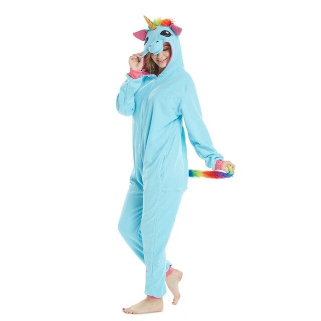 Golden Horn Unicórnio Azul Kigurumi Adulto Onesies Animais Pijama Lemur de Tubarão Pijamas Pikachu Pijama Carnaval Trajes Cosplay