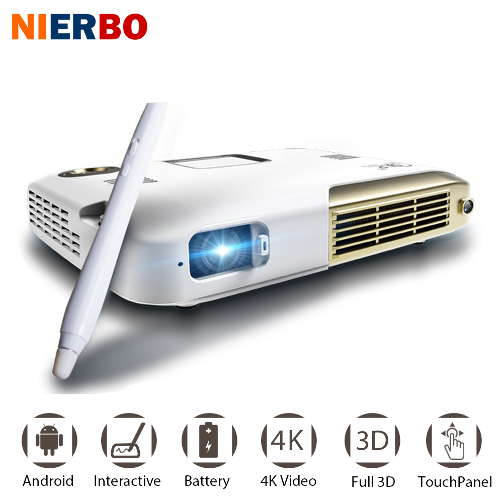 NIERBO 4K Projector Interactive Portable Projector Full 3D School Android Wifi Office Education with 10000mah Battery