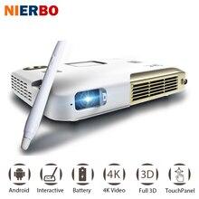 NIERBO 4 K Interactivo Proyector Portátil Proyector 3D Android Wifi Oficina de La Escuela de Educación con 10000 mah Batería 2500