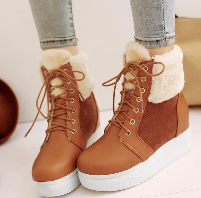 цена на Women Winter Chunky Heel Height Increase Elevator Round Toe Lace Up Fashion Warm Snow Ankle Boots Plus Size 34-43 SXQ01005