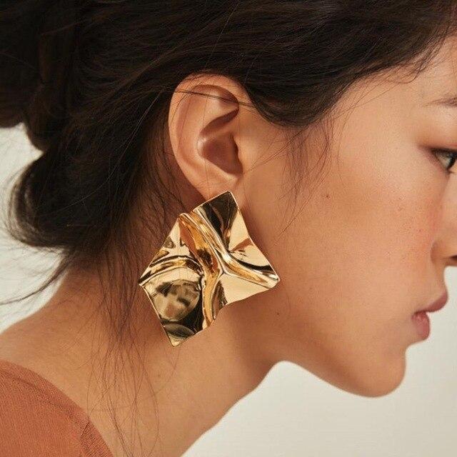 Metal Stud Earrings 2018 Geometric For Women Bold Statement Modern Art Party