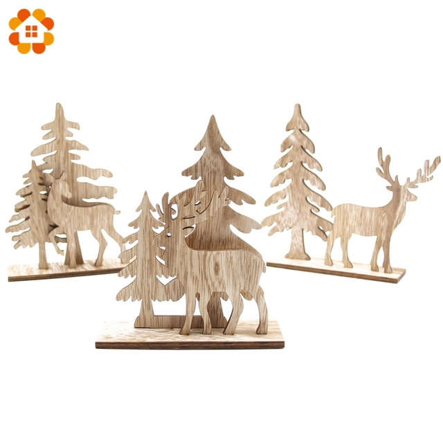 1Set Multi Styles Lovely Christmas Deer Wooden Ornaments DIY Wood Crafts  Christmas Party Supplies Home Table - 1Set Multi Styles Lovely Christmas Deer Wooden Ornaments DIY Wood