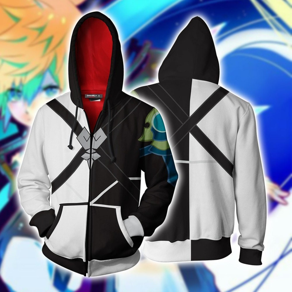 Kingdom Hearts Hoodies Axel Terra Cosplay Costumes 3D printed zip up hoodies Sweatshirts for men and women sport Jackets