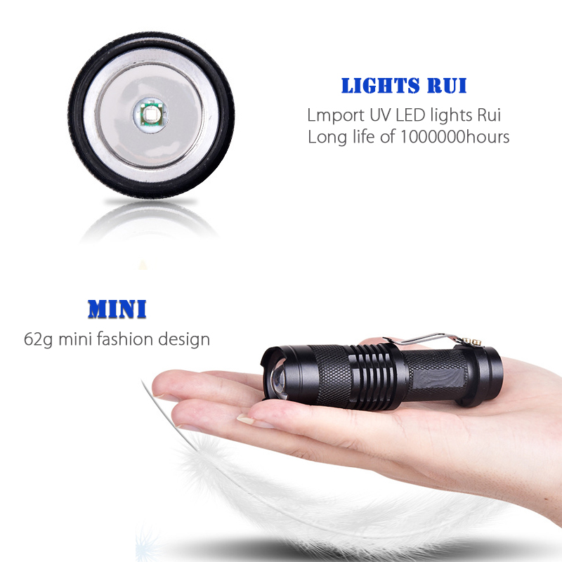 Profession Fluorescent détection Zoom 365nm uv lampe de poche LED ...