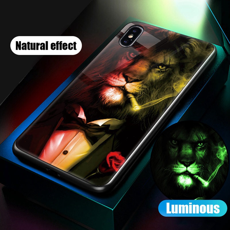 Luminous Case For iPhone X XS MAX Case For iPhone 7 6 s 8 Plus X 10 Luxury PC+Tempered Glass Pattern Silicone Edge Cover (32)