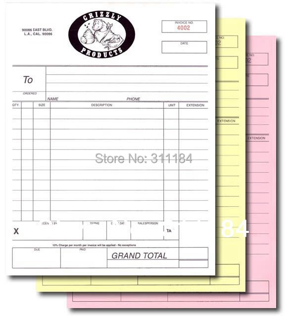 Custom Triplicate Carbonless Invoice Book Manifest Sales Receipt - Personalized invoice books