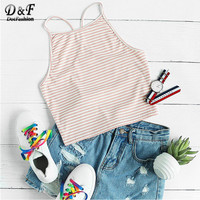 Dotfashion Y Back Rib Knit Striped Cami Top 2017 Summer Beach Wear Camisole Female Fitness Sleeveless Basic Camisole