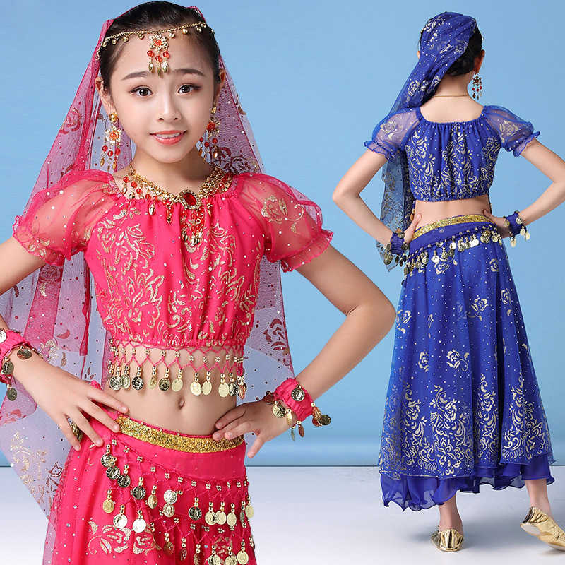 dec22e525 ... Children Belly Dance Costume Set Stage Performance Belly Dancing  Clothes for girls India dance Bollywood Outfit ...