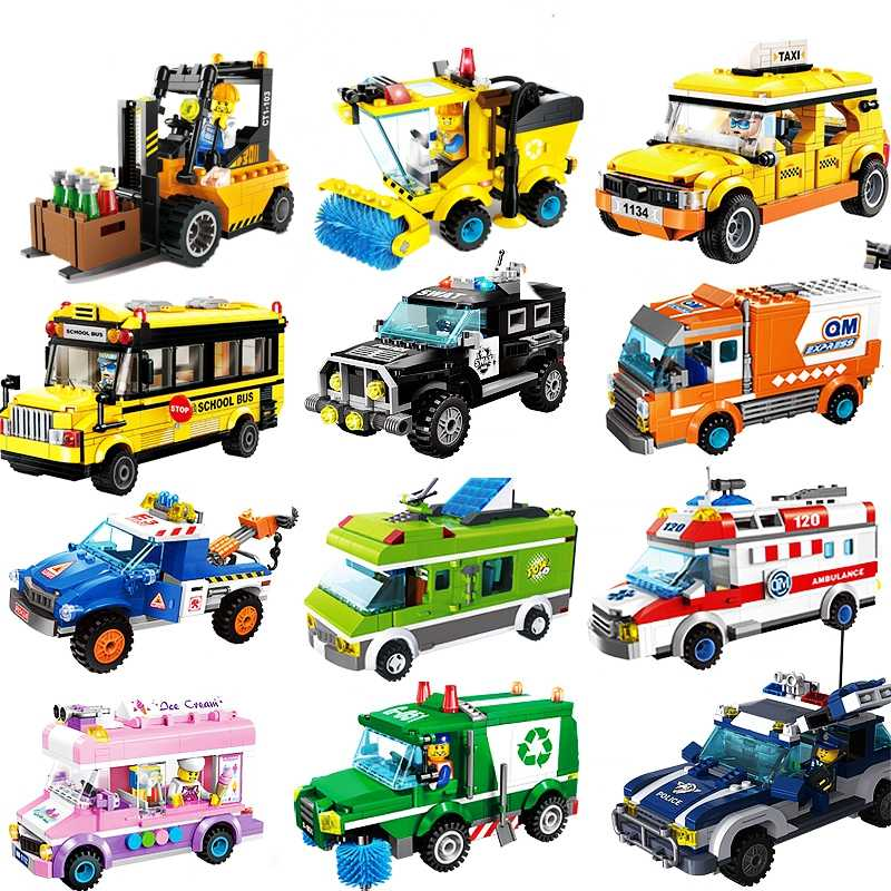Car Tractor Forklift City Series Car Set Truck Road Blocks Characters Children's Assembled Toy Blocks Festival Children's Gifts