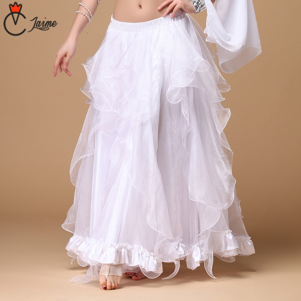 Stage Performance Belly Dancing Clothing Long Fly Skirts Professional Women Chiffon Belly Dance Skirt White Dresses Clothes