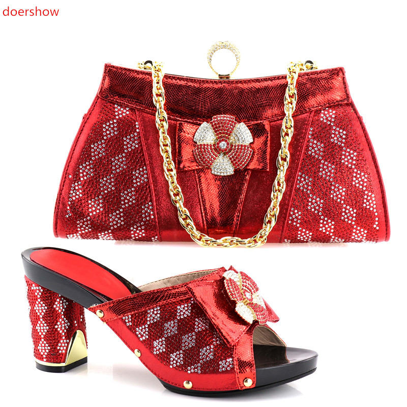 doershow African Style RED Woman Shos And Bags New African Wedding Shoes and Bag Set For Wedding Nigerian Shoes !HV1-61 doershow african shoes and bags fashion italian matching shoes and bag set nigerian high heels for wedding dress puw1 19