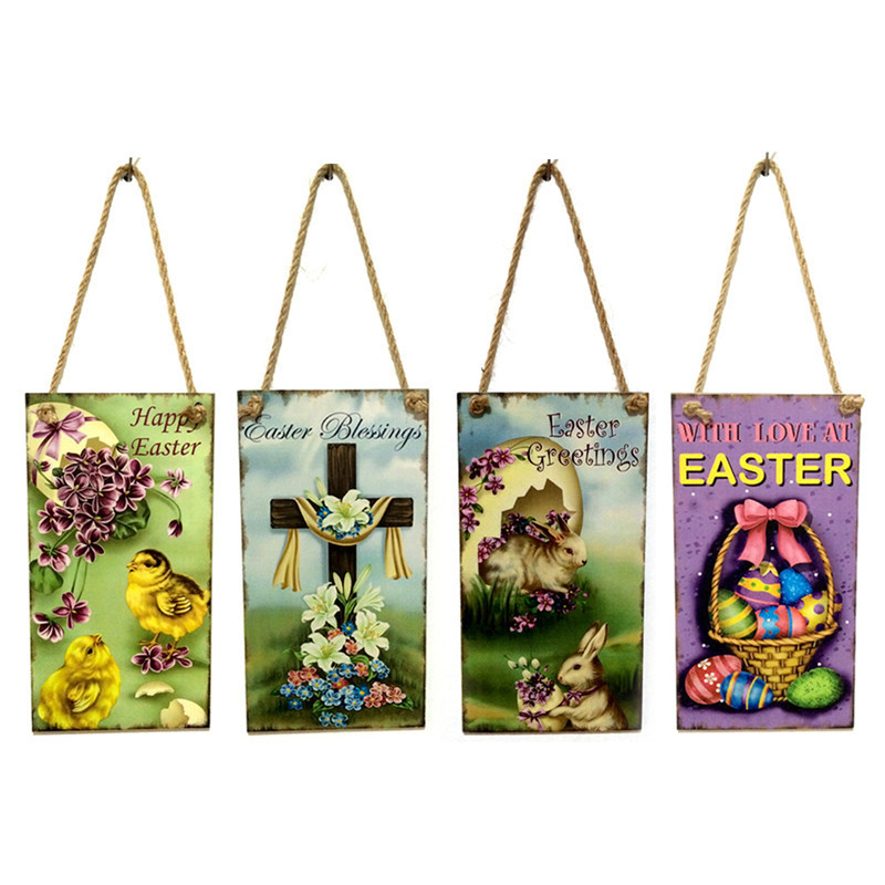 Easter Blessings Sign Hanging Plaque Happy Easter Day Door Hanger Wall Decoration Wooden Creative Hanging Board Party Supplies